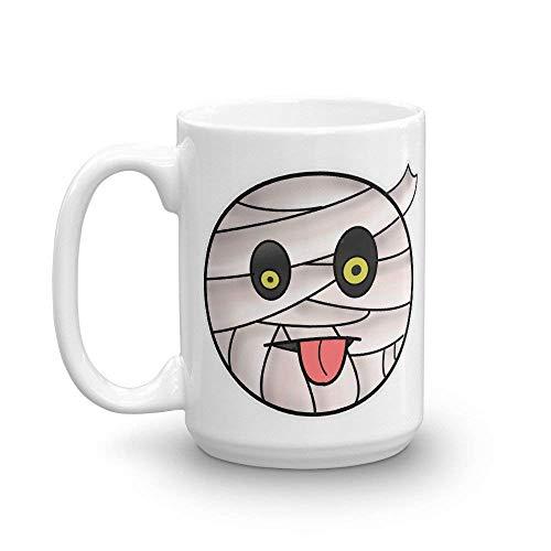 Cute Halloween Mummy Mug Silly Scary Face Coffee drinking Cup ()