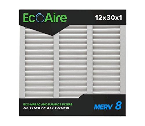 Eco-Aire 12 x 30 x 1 Premium MERV 8 Pleated Air Conditioner Filter, Box of 6
