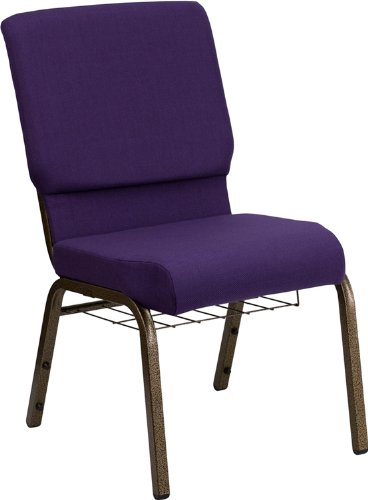 Flash Furniture HERCULES Series 18.5''W Church Chair in Royal Purple Fabric with Cup Book Rack - Gold Vein Frame