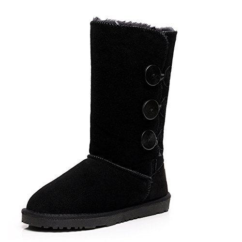 Calf Black Boots rismart Triplet Suede Winter Button Warm Boots Snow Women's Fashion Mid w7F8B