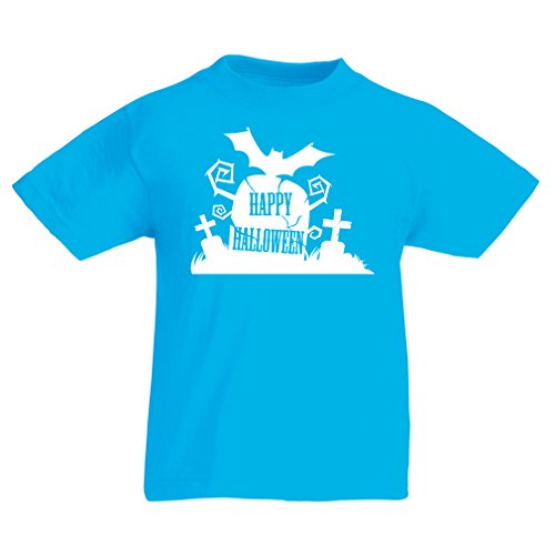 T shirts for kids Halloween Graveyard Outifts - Costume Ideas - Cool Horror Design (3-4 years Light Blue Multi Color) - Homemade Halloween Costumes Batgirl