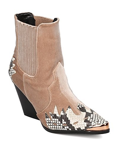 Cowboy Booties - CAPE ROBBIN Women Mixed Media Pointy Toe Flame Pattern Cowboy Bootie HJ89 - Snake Mix Media (Size: 7.0)