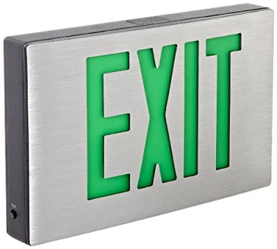 Morris Products 73363 Cast Aluminum LED Exit Sign, Green Letter Color, Brushed Aluminum Face Color, Black Housing Finish