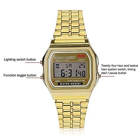 Reloj de pulsera digital de cuarzo con luz LED resistente al agua para hombres y mujeres, dorado: Amazon.es: Bricolaje y herramientas