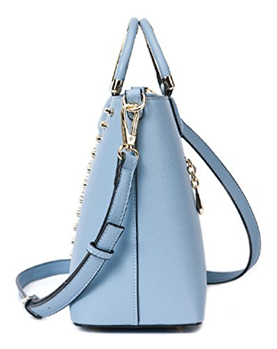 Blue a Fashion Borsa Tote Beach Classic Summer mare tracolla Keshi Grey Straw PU xAPB01