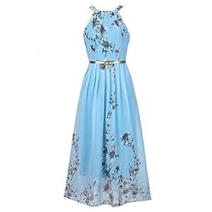 Ruiyige Women's Sleeveless Halter Neck Vintage Floral Print Maxi Dress