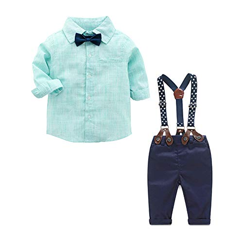 Newborn Baby Boys Gentleman Outfits Suits, Infant Long Sleeve Shirt with Bow Tie+Suspender Pants Toddler 4Pcs Set (Green-Long, 80/9-12Months)