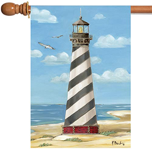 CELYCASY Cape Hatteras Lighthouse Flag Decorative Seasonal Garden Flag Double Sided Polyester Holiday Yard Decor ()