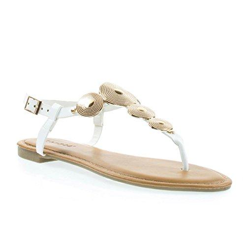 Sandalo Piatto Infradito Da Donna Con Cinturino In Metallo Con Cinturino E Cinturino Alla Caviglia Bianco