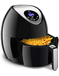 Costzon Air Fryer, 3.4 Quart 1400W, Healthy Oil Free Cooking, Electric Deep Cooker with LCD Touch, Temperature and Time Control, Dishwasher Safe, Detachable Basket Handle
