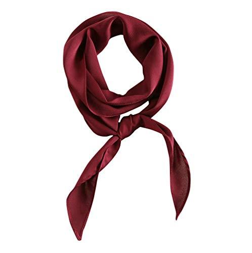 (GERINLY Solid Neckerchief Vintage Wine Skinny Scarf for Prom 20s Satin Ribbon Scarf Handbag Handle Wrap (Wine))
