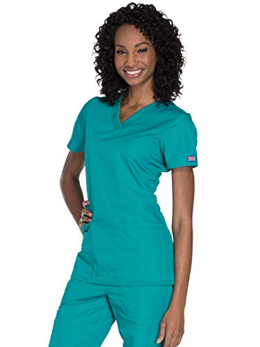Cherokee Women's V-Neck Top, Teal Blue, X-Large from Cherokee