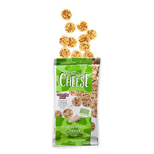 (Just the Cheese Minis, Crunchy Baked Cheese, High Protein Snack, Low Carb Gluten Free With 100% Natural Cheese, Jalapeno (16 Packs))