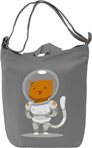 Astronaut kitty Borsa Giornaliera Canvas Canvas Day Bag| 100% Premium Cotton Canvas| DTG Printing|