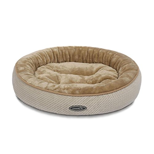Pecute Pet Bed for Cats and Small Dogs Oval Shape Plush Cuddler Soft Warm Sleeper Machine Washable Beige (S 50cm Diameter 15cm Height) (Heated Oval Pet)