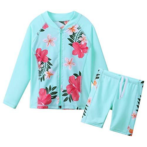 TFJH E Swimsuits for Girls 2-Pieces Rash Long Sleeve Guard Sets Kids Sunsuit with Zip UV 50+ Aqua 4t 5t,Cyan Flower 104/110