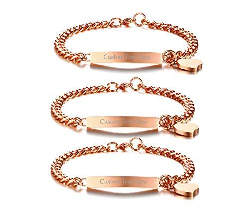 VNOX Personlized Friendship Sister Bracelet Set of 3-Rose Gold Plated Heart Charm BFF Bridesmaid Bracelet