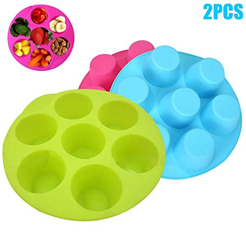 1 piece 7 Cavity Silicone Cupcake Mold DIY Cake Muffin Chocolate Pudding Baking Tray Pan Mould Random Color -