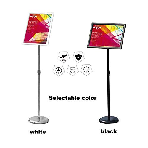 Black Sign Holder Poster Holder Stand for Display, Heavy Strong Base Aluminum Snap Open Frame for 8.5x11 Inch Graphics revolvable Sign Stand