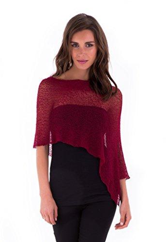 - SHU-SHI Womens Sheer Poncho Shrug Lightweight Knit Maroon One Size Fits Most