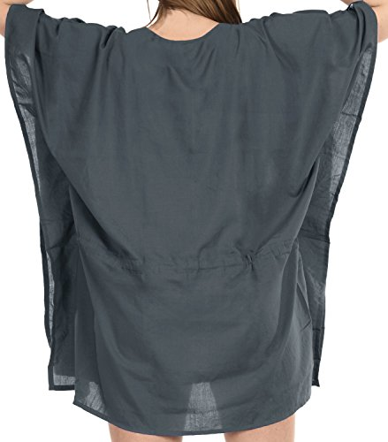 Costume Da La Elastico Grigio Leela Caftano Superiore Coprire j763 Spiaggia Bagno Camicetta Bikini Ricamato XwXSxqBI6n