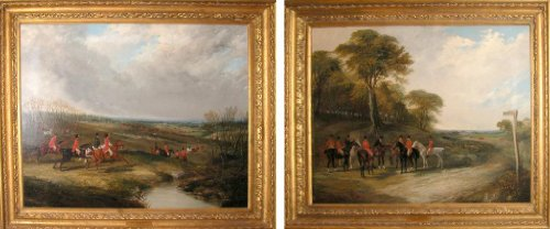 The Oakley Hunt - A Meet Near Bedforshire and Full Cry; a - Painting Oakleys