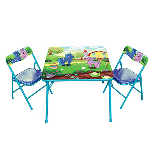Pony Kids' 3 Piece Square Table and Chair Set by Gener8