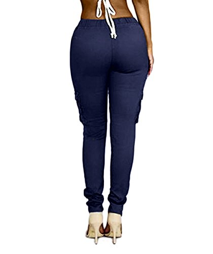 oluolin womens solid color stretch drawstring skinny pants