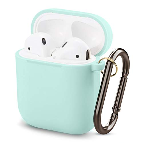 MAPUCE Airpods Case Protective Silicone Cover, Airpod Waterproof Shockproof Cases with Keychain Skin for Apple Airpods 2&1 Charging Case(Mint Green)