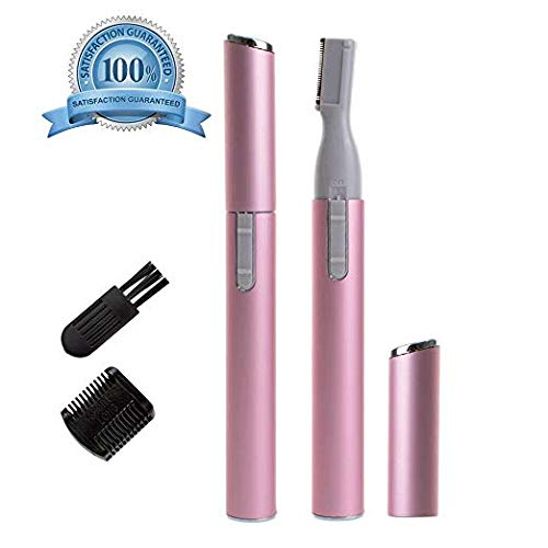 Eyebrow Trimmer Electric Facial Hair Shaver Remover for Women, Eyebrow Hair Bikini Trimmers Eyebrow Razor Shaper Set with Brush and Comb for Ladies, Portable Stylish, Battery Operated. (Pink) Hmjunboys