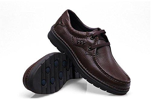 GRRONG Zapatos De Cuero De Los Hombres De Cuero De Vaca Ocio Negocios Transpirable Negro Marrón Brown