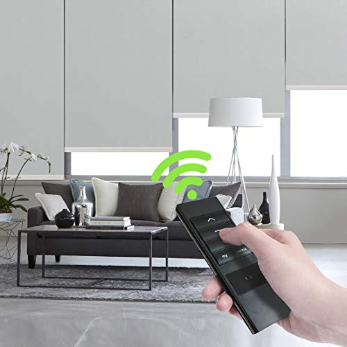 Keego Motorized Blinds Smart Window Roller Blinds Remote Control 100% Blackout Room Darkening Cordless Automated Blinds Indoor for Smart Home Office Living Room – Gray 41″ W x 56″ H