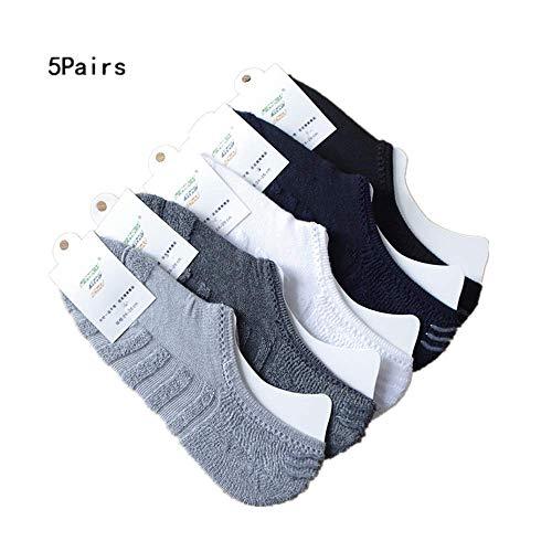 5 Pairs Mens Boat Socks,Realdo Towel Bottom Pure