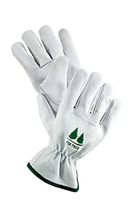 FirTree Brand Leather Work Gloves. Premium Goatskin Utility Gloves. Great Gardening Gloves, Outdoor Working Gloves and Drivers Gloves. For Men and Women (Size Chart Pictured).