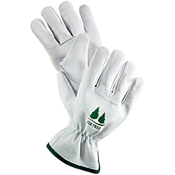 Leather Work Gloves. Premium Goatskin Utility Gloves. Great Gardening Gloves, Outdoor Working Gloves and Drivers Gloves. For Men and Women (Size Chart Pictured).