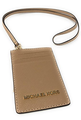 d4aebfbcead4 Michael Kors Jet Set Travel Lanyard ID Card Case Leather Oyster (Beige)