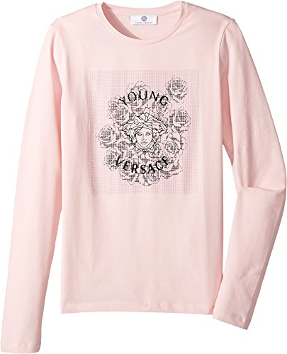 Versace Kids Girl's Long Sleeve T-Shirt w/Medusa Rose Design On Front (Big Kids) Pink 13-14 Big - Girls Versace