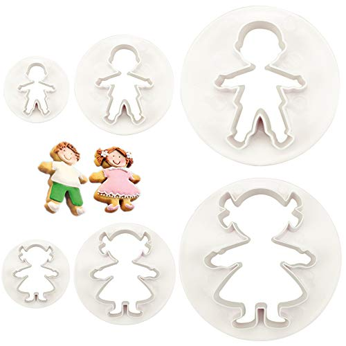 CSPRING 6PCS Cute Funny Gingerbread Boy and Girl Christmas Lebkuchen Man Plastic Cookie Cutter Molds Fondant Set