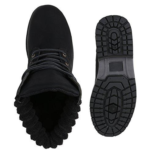 Stiefelparadies Damen Worker Boots Leicht Gefütterte Outdoor Stiefeletten Flandell Schwarz Amares