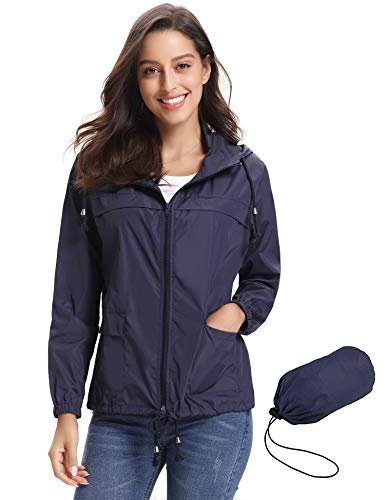Lightweight Active Outdoor Rain Blue with Abollria Raincoat Waterproof Windbreaker Hood Jacket Navy Women K7a1wUwq6