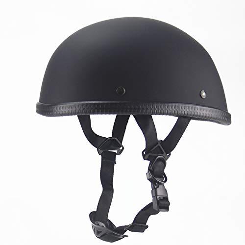- Evin Low-Key Novelty Beanie Helmet Quick Release, Helmet Motorcycle Half Helmet Skull Cap - Matte Black 100% DOT Approved Unisex Style,XL