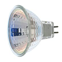 Satco Products S1962 50-Watt MR16 Halogen GX5.3 Base 12-Volt Clear NFL 18 Beam Pattern No Harmful Ultraviolet Rays Light Bulb, No Lens
