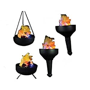 Lightahead Portable 4 in1 Artificial Flame Tikki Torch, Wall, Hanging & Floor Mode, Fake Fire Burning Torch, Realistic Silk Flame Effect 24