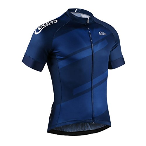 Celero Men's Short Sleeve Quick Dry Cycling Jersey Full Zip Biking ()