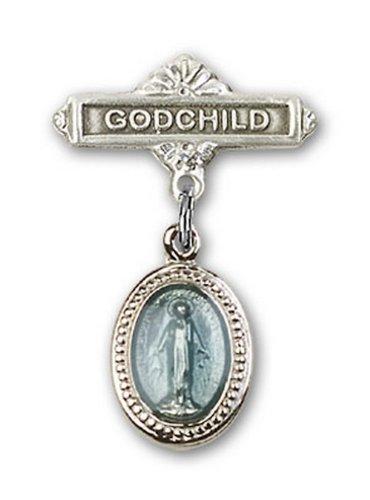 Icecarats Créatrice De Bijoux Sterling Charme Miraculeuse Bleu Pin Badge Filleul Argent 1 X 5/8
