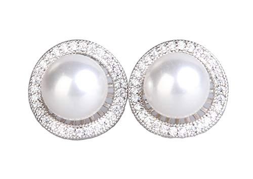 lxqgrace Earrings,Earrings Stud,Pearl Stud Earrings with Rhinestone Hypoallergenic Earrings, 925 Sterling Silver,Christmas Birthday Gifts Elegant Jewelry Gift Box