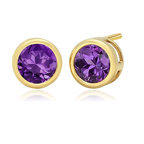 10k Yellow Gold Bezel Set Amethyst Stud Earrings (6mm)