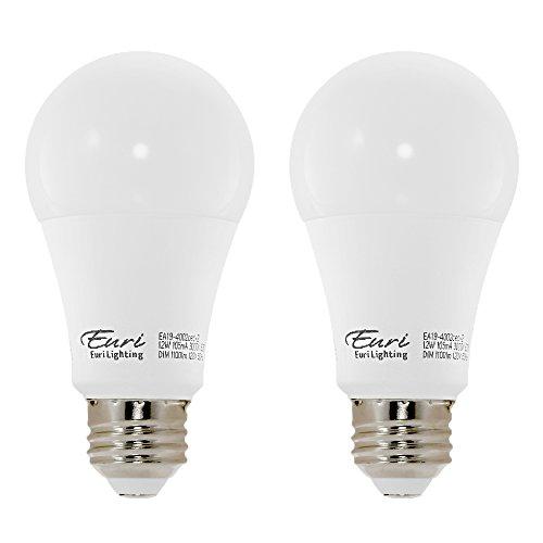 75w Line - Euri Lighting EA19-4002cec-2 LED A19 Bulb, E-Lite Line, Soft White 3000K, Dim, 12W (75W Equivalent) 1100 lm, 296 Degree Beam Angle, 90+ CRI, Med. Base (E26) UL, E-Star Listed, CEC (Pack of 2)