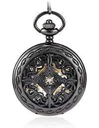 amazon com mechanical hand wind pocket watches watches sinopic best wind up pocket watch for men vintage gold r numerals skeleton black dial chain