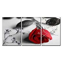 So Crazy Art® - Canvas Print Wall Art Painting For Home Decor,Still Life Of Love Red Rose Flower On Black And White Background With Vintage Elements 3 Pieces Panel Paintings Modern Giclee Stretched And Framed Artwork The Picture For Living Room Decoration,Flower Pictures Photo Prints On Canvas